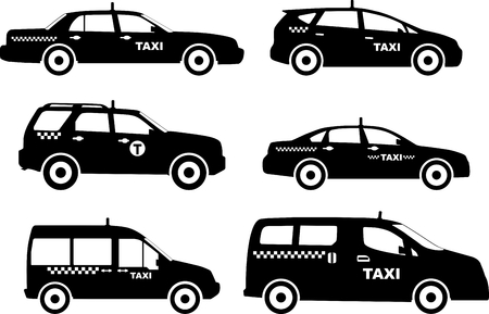 car driver: Silhouette illustration of taxi cars isolated on white background