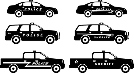 Silhouette illustration of police and sheriff cars isolated on white background. Stock Illustratie