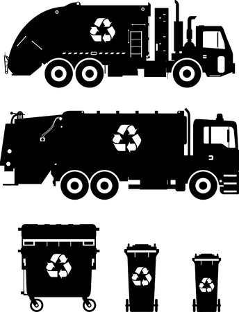 Silhouette illustration of garbage trucks and dumpsters isolated on white background