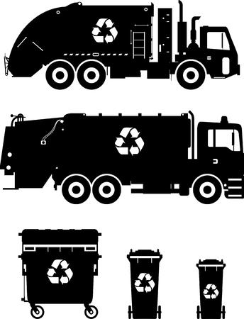 camion de basura: Ilustraci�n de la silueta de camiones de basura y contenedores de basura aislado en el fondo blanco