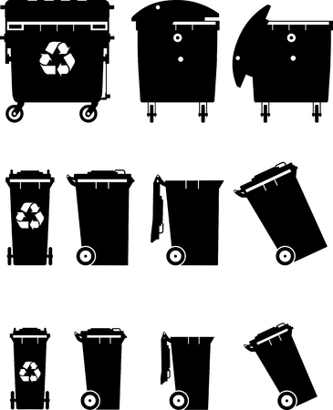 dispose: Silhouette illustration of trans can isolated on white background.