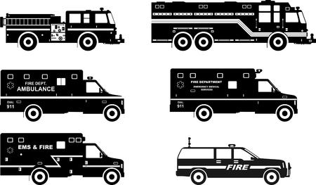 Ilustración de la silueta de camiones de bomberos y coches de ambulancia aisladas sobre fondo blanco.