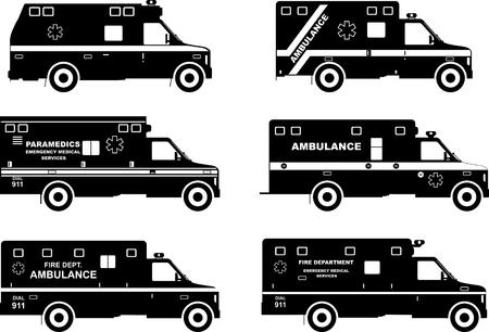 ambulancia: Ilustración de la silueta de los coches de ambulancia aisladas sobre fondo blanco.