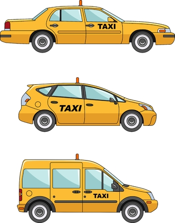 Three variants of the taxi car in flat style