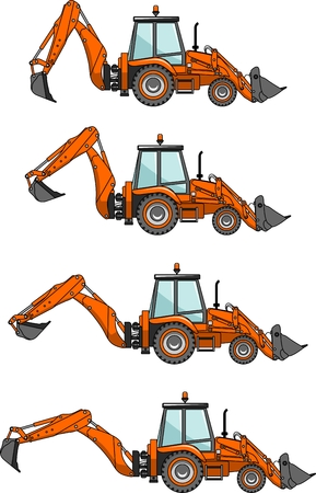 backhoe: Detailed illustration of backhoe loaders, heavy equipment and machinery Illustration