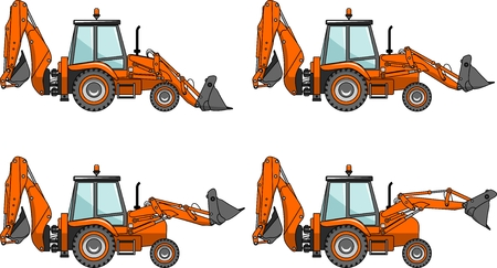 backhoe: Detailed illustration of backhoe loaders, heavy equipment and machinery.
