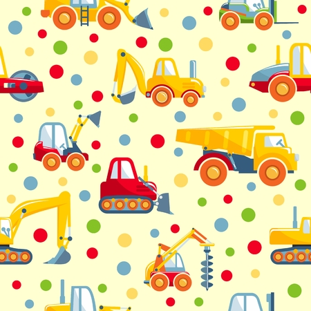 heavy: Detailed seamless background with toys heavy equipment and machinery