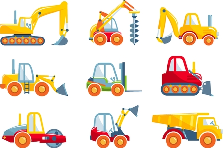 Different kind of toys heavy equipment and machinery isolated on white background. Vector illustration. 向量圖像