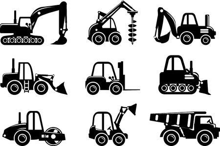 heavy: Different kind of toys heavy equipment and machinery isolated on white background. Vector illustration. Illustration