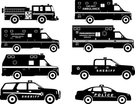 brandweer cartoon: Silhouet illustratie van brandweerwagen, politie en ambulance auto op een witte achtergrond. Stock Illustratie