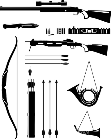 arbalest: Silhouette illustration hunting weapons and objects isolated on white background. Vector illustration.