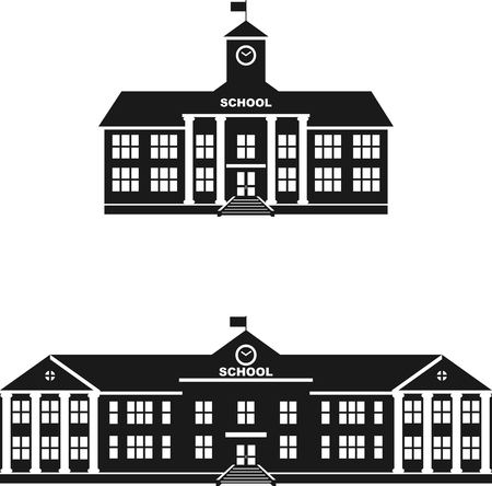 Silhouette illustration different variants of classical school building in a flat style.
