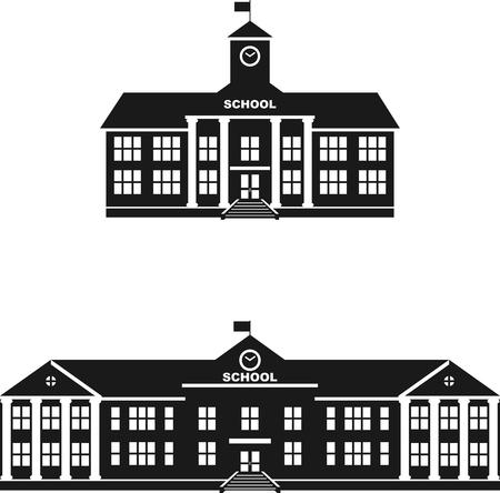 Ilustración de la silueta diferentes variantes del edificio de la escuela clásica en un estilo plano. Ilustración de vector