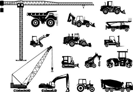 bulldozer: Silhouette illustration of heavy equipment and machinery