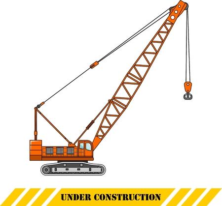 heavy equipment: Detailed illustration of crane, heavy equipment and machinery Illustration