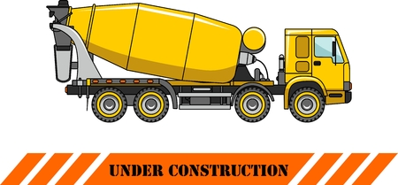concrete mixer: Detailed illustration of concrete mixer, heavy equipment and machinery Illustration