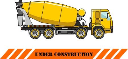 heavy equipment: Detailed illustration of concrete mixer, heavy equipment and machinery Illustration