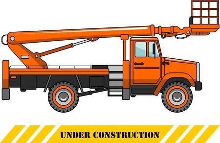 plataforma: Ilustración detallada de camión de plataforma aérea, equipo y maquinaria pesada.