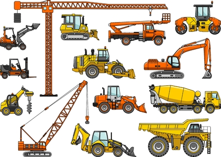yellow tractors: Silhouette illustration of heavy equipment and machinery