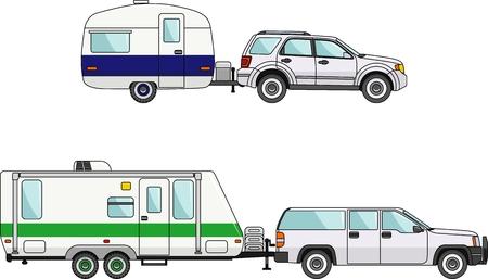 camion caricatura: Caravana moderna. Ilustración detallada de automóviles y remolques de viaje en el estilo plano Vectores