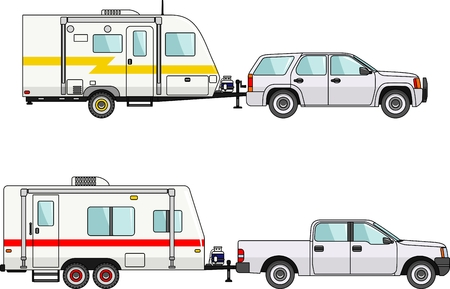 Modern caravan. Detailed illustration of car and travel trailers in flat style Stock Illustratie
