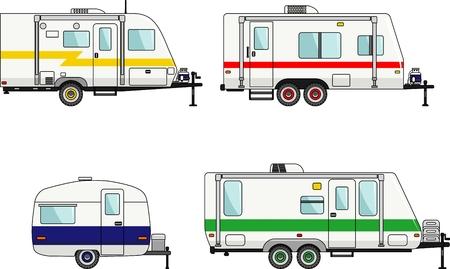 Detailed illustration of travel trailer caravans in flat style.
