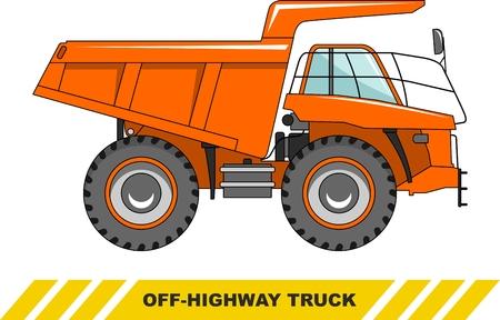 camion minero: Ilustración detallada de camión minero, equipo pesado y maquinaria