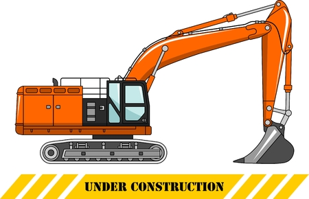 car loader: Detailed illustration of excavator, heavy equipment and machinery