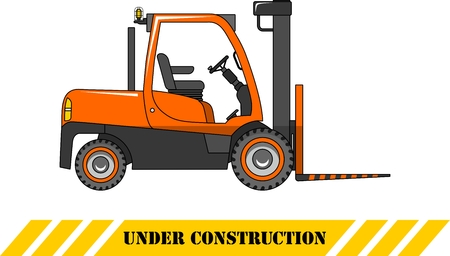 heavy equipment: Detailed illustration of forklift, heavy equipment and machinery Illustration