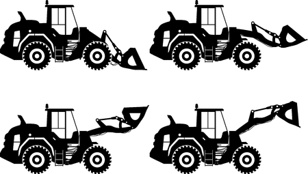 heavy equipment: Detailed illustration of wheel loaders, heavy equipment and machinery