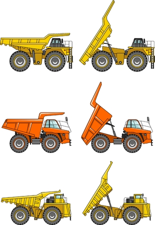 road construction: Detailed illustration of mining trucks, heavy equipment and machinery in a flat style.