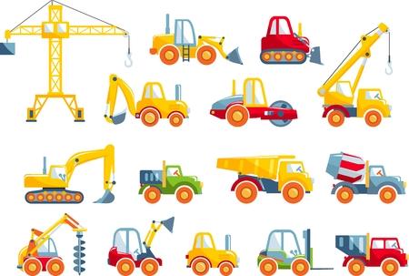 Different kind of toys heavy equipment and machinery isolated on white background. Vector illustration. Vettoriali