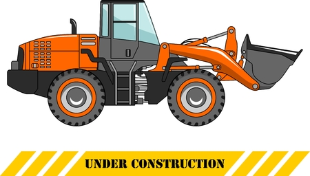 heavy equipment: Detailed illustration of wheel loader, heavy equipment and machinery