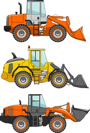 loaders: Detailed illustration of wheel loaders, heavy equipment and machinery in a flat style.