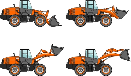 Detailed illustration of wheel loaders, heavy equipment and machinery in a flat style.