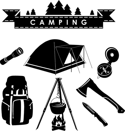 Silhouette Illustration Camping Equipment And Objects Isolated On White Background Vector