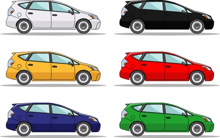 Detailed illustration of six colored cars in a flat style