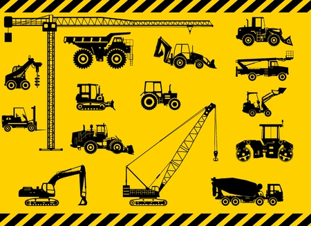 hydraulic platform: Silhouette illustration of heavy equipment and machinery