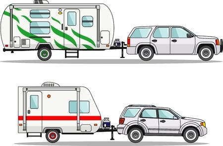 caravans: Detailed illustration of travel trailer caravans in flat style.
