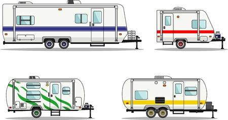 フラット スタイルの旅行トレーラー トレーラーハウスの詳細図。  イラスト・ベクター素材