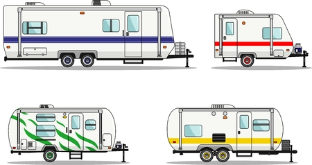 Detailed illustration of travel trailer caravans in flat style. Stock fotó - 48205490