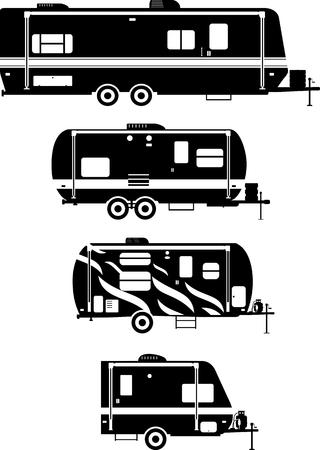白い背景の上の旅行トレーラー トレーラーハウスのシルエット イラストです。