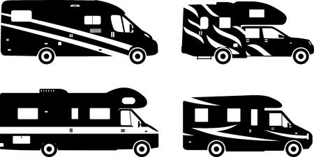 Silhouette illustration of travel trailer caravans on a white background.