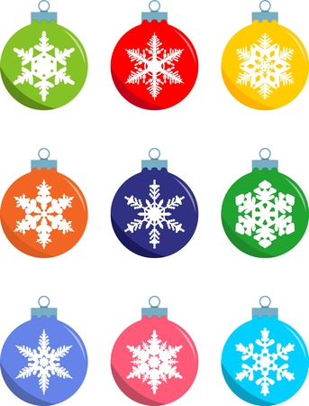 decoration objects: Set of christmas decorations balls in flat style on white background.