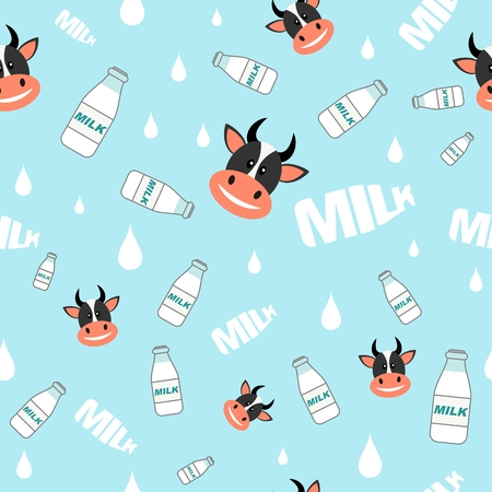 cow silhouette: Seamless pattern background with cows and bottles of milk in flat style. Illustration