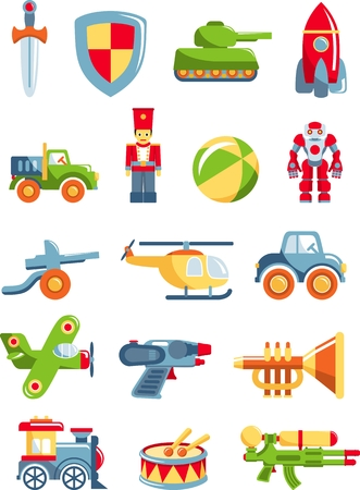 tank car: Different kind of toys for boys on white background. Vector illustration