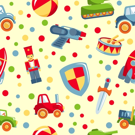 child rocket: Colorful pattern with different kind of toys for boys
