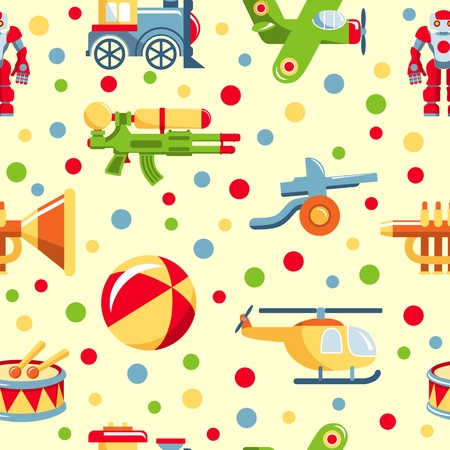 for boys: Colorful pattern with different kind of toys for boys
