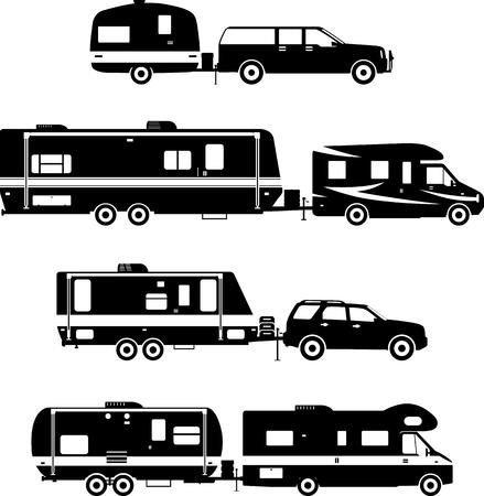 Silhouette illustration of travel trailer caravans on a white background. Vetores