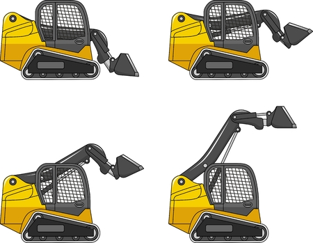 Detailed illustration of skid steer loaders, heavy equipment and machinery Vectores